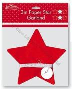 3m Stars Paper Garland Christmas Decoration Festive Seasonal Gifts