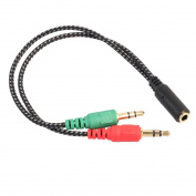 3.5mm Stereo Headphone Audio Splitter Cable Adapter with Mic 1 Female to 2 Male