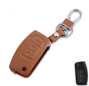 Happyit Genuine Leather Folded Key Cover Case for Ford New Fiesta Ecosport Focus 2 MK2 2012 2013 2014 2015 2016 with Keychain