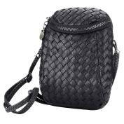 Womens Dual Pockets PU Leather Mini Cellphone Crossbody Bag Single Shoulder Purse for Girls