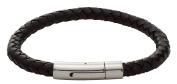 Code Red Leather Plaited Black Boys Bracelet of Length 18 cm