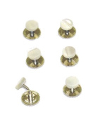 Dress Shirt Studs Set of Six Silver Colour and Pearl in Gift Box