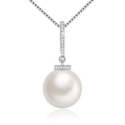 """""""the Purity of Love"""" Simple White Cultured Pearl Necklaces for Women with Crystals Drop Pendant, Elegant Birthday Gifts for Women, Wedding Anniversary Gifts for Wife, 46cm"""