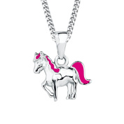 Prinzessin Lillifee Children's Necklace with Horse Pendant Enamelled 925 Rhodium-Plated 38cm – 2018177