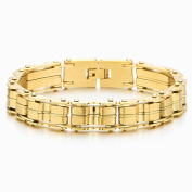 Heavy-duty Gold Colour Stainless Steel Men's Bike Chain Bracelet Jewellery for Man Bold and Chunky