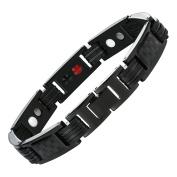 Urban Jewellery Men's Titanium Magnetic Link Bangle Bracelet with Carbon Fibre 22cm