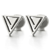 Stainless Steel Triangle Spiral Stud Earrings Unisex for Men and Women, Screw Back 2pcs