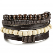 Sailimue 4-8Pcs Wooden Beaded Bracelets for Men Women Leather Bracelet Elastic 18-21.5cm Adjustable