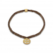 LUIS MORAIS Men's 14ct Yellow Gold Small Hanging Sun Cross and Striped Brown Beads Bracelet of Length 19.05-28.8cm