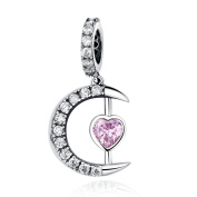 Sterling Silver I Love You to the Moon and Back Heart Dangle Charm Beads Fit Snake Chain Charms Bracelets