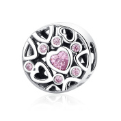 Sterling Silver Heart Bead Charms Feb Birthstone Amethyst Bead Openwork Charms Fit Snake Chain Bracelets