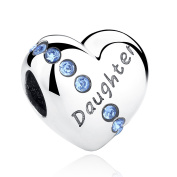 Sterling Silver Heart Love Daughter Birthstone Charm Beads for Bracelets with Elements Crystal