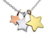Trio of Stars Necklace - 925 Sterling Silver - Pendant Size