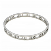 Baoli Titanium Steel Hollow Out Roman Numerals Bangle Bracelet for Ladies