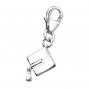 Graduation Cap Shaped Charm with Clip On Clasp - 925 Sterling Silver - Size