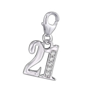 """""""21"""" Charm with Clip On Clasp - 925 Sterling Silver - With Five Cubic Zirconia Stones - Size"""