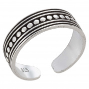 SL Collection ZEHRING Dots Size Adjustable Toe Ring 925 Sterling Silver