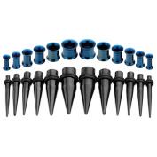JOVIVI 24pcs Ear Gauges Stretching Kit Stainless Steel Black Taper & Tunnels Plugs Expander Stretcher 8g-00g