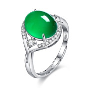 BALANSOHO 925 Sterling Silver Oval Chrysoprase Women Engagement Rings with Cubic Zircoina Resizable 5-10