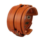 MULBA Mens Bracelet With Wide Braided Genuine Leather
