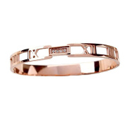Baoli Rose Gold CNC Diamond Titanium Roman Numerals Bangle Bracelet for Ladies