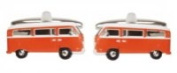 Novelty Orange Coloured Campervan Cuff Links In Polished Stainless Steel By Dalaco In Presentation Box - The Ideal Gift For All Campervan Lovers