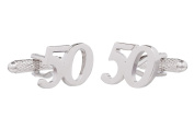 50th Birthday Cufflinks - 50 Birthday Shirt Cufflinks Presented in Black Cufflink Box