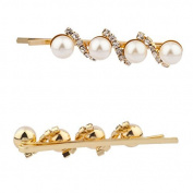 Lux Accessories Faux Pearl Pave Crystal Hair Clips Pins Set Bridal Bride Bridesmaid