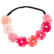 Lux Accessories Multi Colour Peach Pink Rainbow Floral Flower Crystal Stretch Headband Head Band
