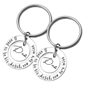 JOVIVI 2pc/set I used to be his angel,now he's mine Dad Memorial Pendant Keychain Jewellery - Father's Day Gift