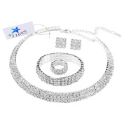 Santfe Silver Plated 3 Row Crystal Rhinestone Choker Necklace Earrings Wedding Bridal Jewellery Sets
