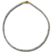 I Be, Opal Freshwater Pearls Collier/Necklace Snap Hook VERSCHLUSS925 Sterling Silver Gold Plated Diameter 4 mm Length 42 cm in Gift Packaging 44680445/800/45