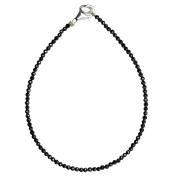 I Be, Schwarzers Spinel Bracelet Tiefschwarz/Diameter 3 mm 925 Sterling Silver with Lobster Clasp, Length 18.5 cm 506603/Black 18.5