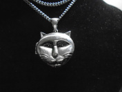 Beautiful Silver plate BIG CAT FACE Necklace silver 69 cm necklace & magnetised Locket, made in USA , 10 year guarantee