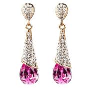 Yazilind Gold 18 K Plated Women Necklace Fashion Tear Drop Cubic Zirconia CZ Rhinestone Pendant Earring Gift