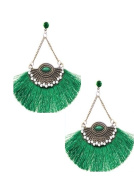 Jewellery Ant Hony Ethnic Chic Long Earrings Clear Crystal Clear Green Tassels Threads Green