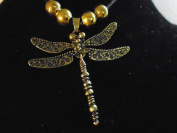 Quality BRASS / BRONZE / DRAGONFLY Flexing Tail 90cm necklace with gold beads on cord or with silver or black chain, 10 year guarantee , new with tag