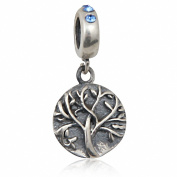 Family Tree of Life Charms 925 Sterling Silver Crystal Dangle Bead Charms for European Bracelet