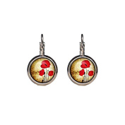 Poppies earrings 16mm Poppies Jewellery french earrings dangle earrings