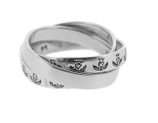 Scottish Thistle Three Band Sterling Silver Ring