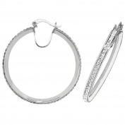Sterling Silver 35mm Diameter Single Row Crystal Pave Set Hoop Earrings 4.6g