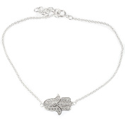 Sterling Silver Fine Chain Hand Of Fatima Hamsa Bracelet Set with Crystal