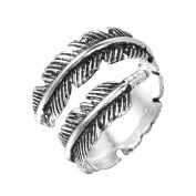 Punk Style Classic Feather Vintage Couple Ring for Women Men 925 Silver Jewellery Party Wedding Gift