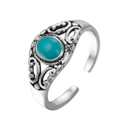 Turquoise Ring Solid 925 Silver Jewellery with Unique Gemstone in Boho Bohemian Style