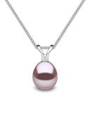 Kimura Pearls Silver Natural Colour Drop Shape Cultured Freshwater Pearl Pendant on 40cm Curb Chain P11960-18