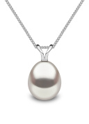 Kimura Pearls Silver White Drop Shape Cultured Freshwater Pearl Pendant on 40cm Curb Chain P11990-15