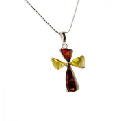 Enzo N315 Baltic Amber Sterling Silver Necklace Pendant Women's Necklace 40 cm Multi-Coloured