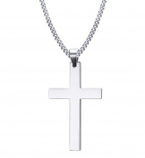 Heyrock 60CM Men's Stainless Steel Cuban Chain Necklace Simple Cross Gold/Black/Silver Colour Pendant