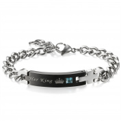 Flongo Men's Womens Elegant King Queen Crown Identification Link Valentine Engagement Promise Gift Bracelet