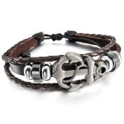 MunkiMix Alloy Genuine Leather Bracelet Bangle Cuff Cord Anchor Nautical Surfer Wrap Adjustable Men,Women